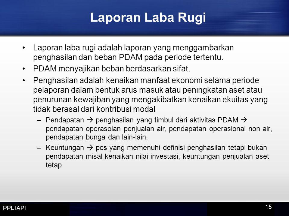 Laporan Laba Rugi Laporan laba rugi adalah laporan yang menggambarkan penghasilan dan beban PDAM pada periode tertentu.