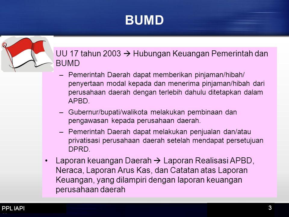 BUMD UU 17 tahun 2003  Hubungan Keuangan Pemerintah dan BUMD –Pemerintah Daerah dapat memberikan pinjaman/hibah/ penyertaan modal kepada dan menerima pinjaman/hibah dari perusahaan daerah dengan terlebih dahulu ditetapkan dalam APBD.