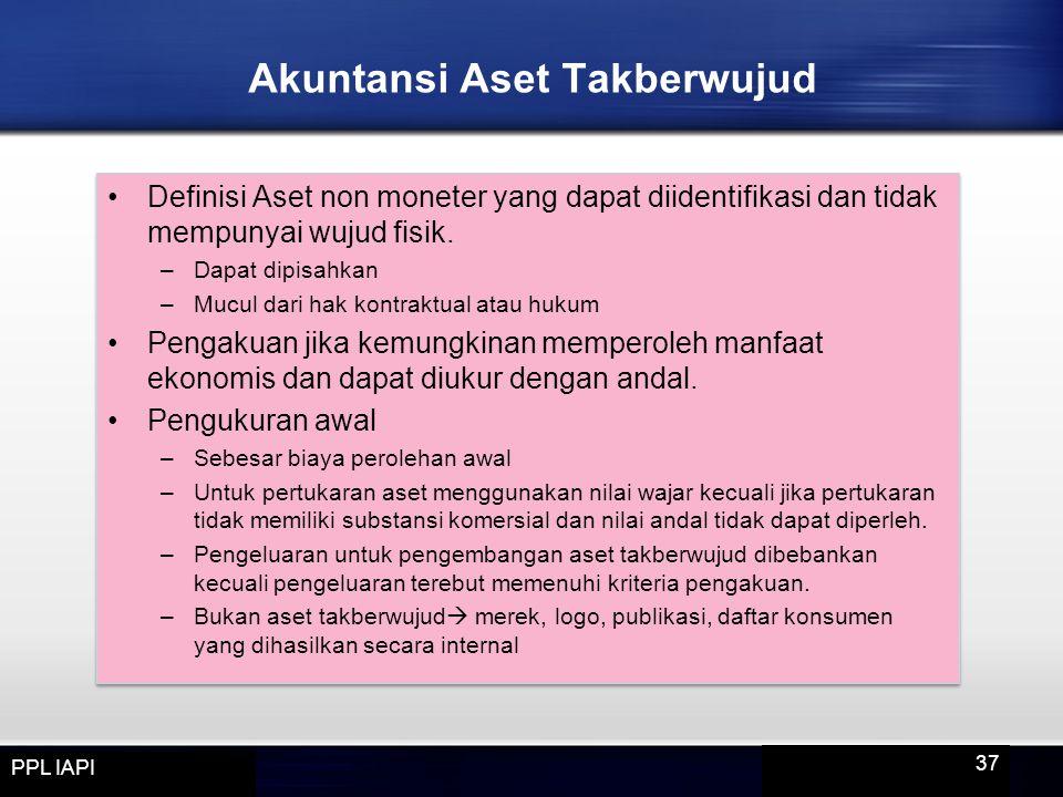Definisi Aset non moneter yang dapat diidentifikasi dan tidak mempunyai wujud fisik. –Dapat dipisahkan –Mucul dari hak kontraktual atau hukum Pengakua