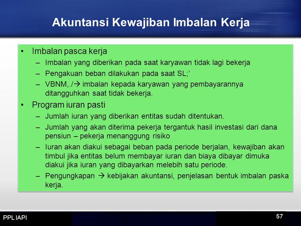 Imbalan pasca kerja –Imbalan yang diberikan pada saat karyawan tidak lagi bekerja –Pengakuan beban dilakukan pada saat SL;' –VBNM,./  imbalan kepada
