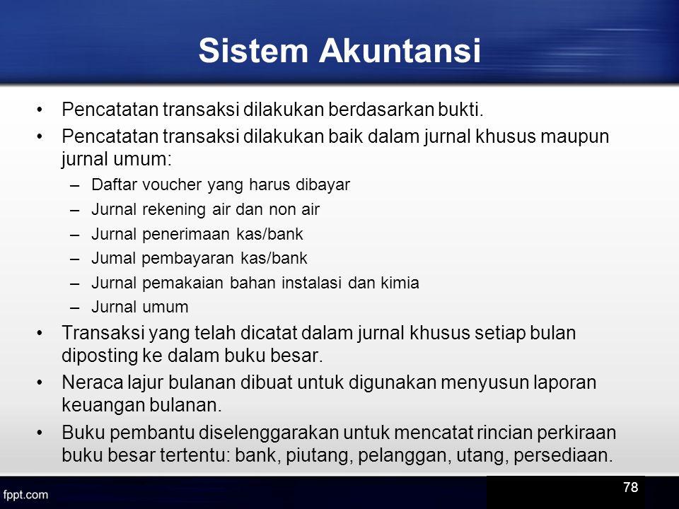 Sistem Akuntansi Pencatatan transaksi dilakukan berdasarkan bukti.