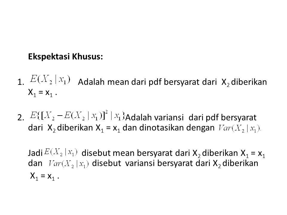 Ekspektasi Khusus: 1. Adalah mean dari pdf bersyarat dari X 2 diberikan X 1 = x 1. 2. Adalah variansi dari pdf bersyarat dari X 2 diberikan X 1 = x 1