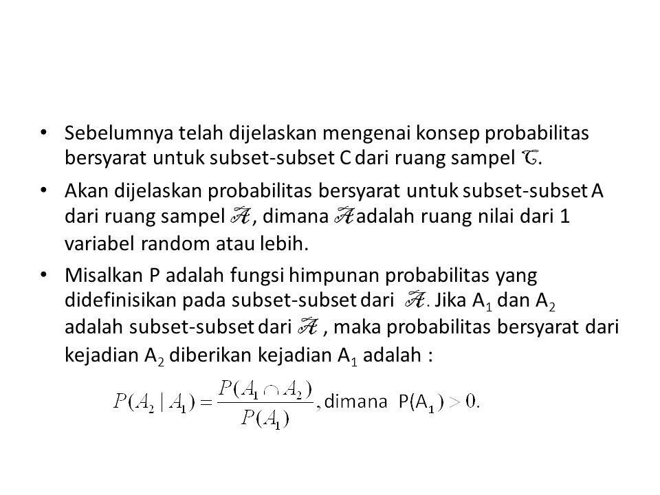 Probabilitas Bersyarat Misalkan X 1 dan X 2 adalah variabel random diskrit dengan pdf f(x 1,x 2 ) dimana f(x 1,x 2 ) > 0 untuk (x 1,x 2 ) A dan sama dengan nol untuk yang lainnya.