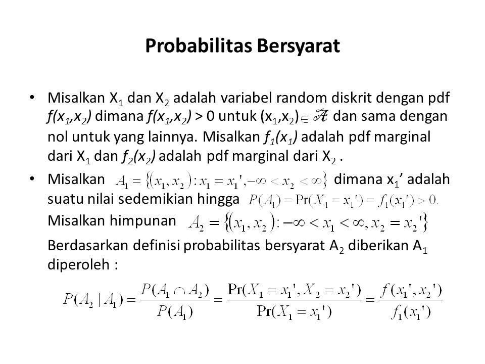 Probabilitas Bersyarat Misalkan X 1 dan X 2 adalah variabel random diskrit dengan pdf f(x 1,x 2 ) dimana f(x 1,x 2 ) > 0 untuk (x 1,x 2 ) A dan sama d