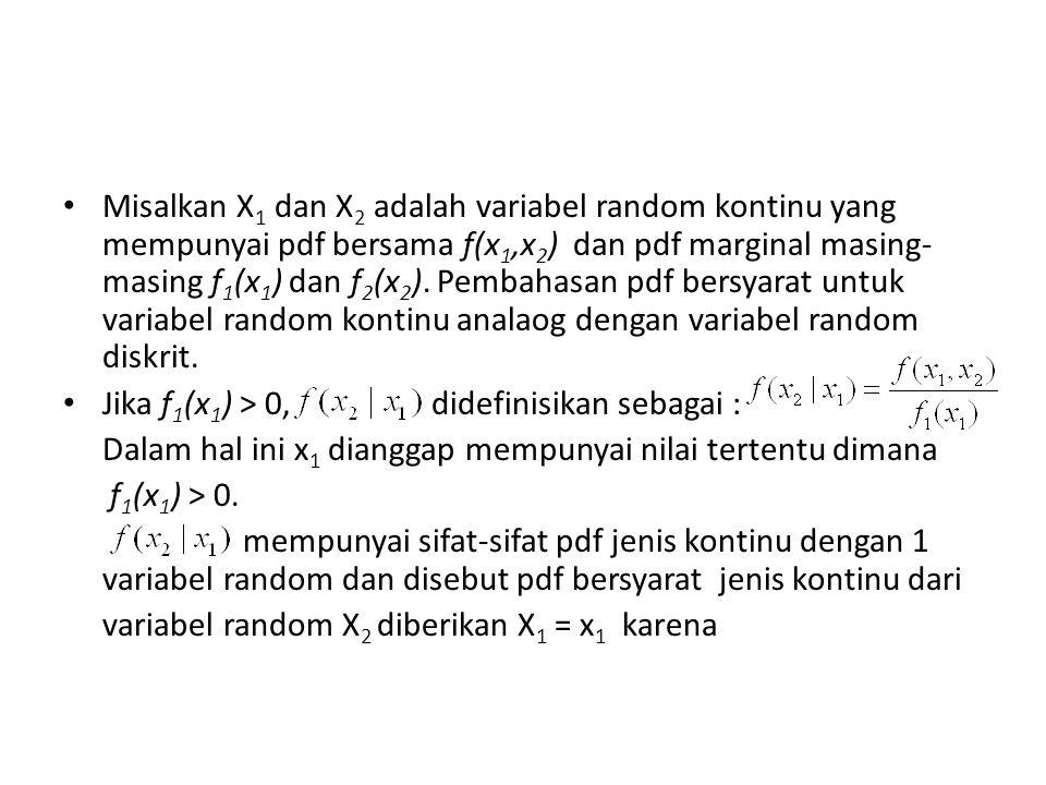 Misalkan X 1 dan X 2 adalah variabel random kontinu yang mempunyai pdf bersama f(x 1,x 2 ) dan pdf marginal masing- masing f 1 (x 1 ) dan f 2 (x 2 ).