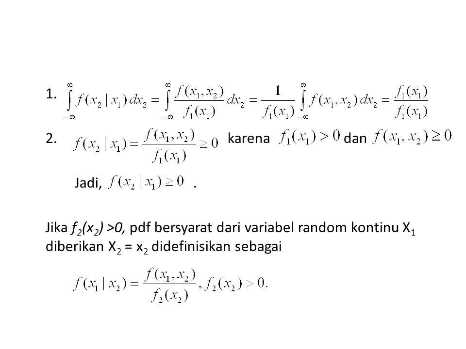 1. 2. karena dan Jadi,. Jika f 2 (x 2 ) >0, pdf bersyarat dari variabel random kontinu X 1 diberikan X 2 = x 2 didefinisikan sebagai