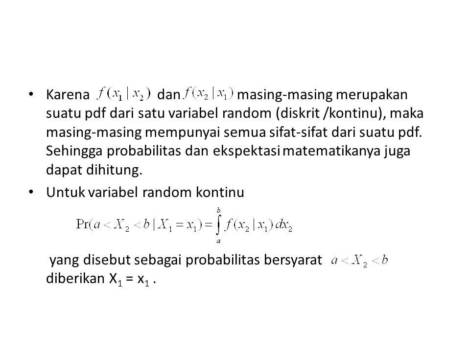 Probabilitas bersyarat bahwa diberikan X 2 =x 2 adalah: Jika u(X 2 ) adalah suatu fungsi dari X 2, maka : disebut ekspektasi bersyarat dari u(X 2 ) diberikan X 1 = x 1.