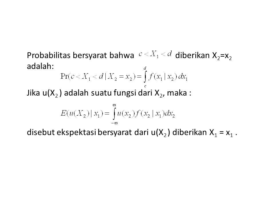 Probabilitas bersyarat bahwa diberikan X 2 =x 2 adalah: Jika u(X 2 ) adalah suatu fungsi dari X 2, maka : disebut ekspektasi bersyarat dari u(X 2 ) di