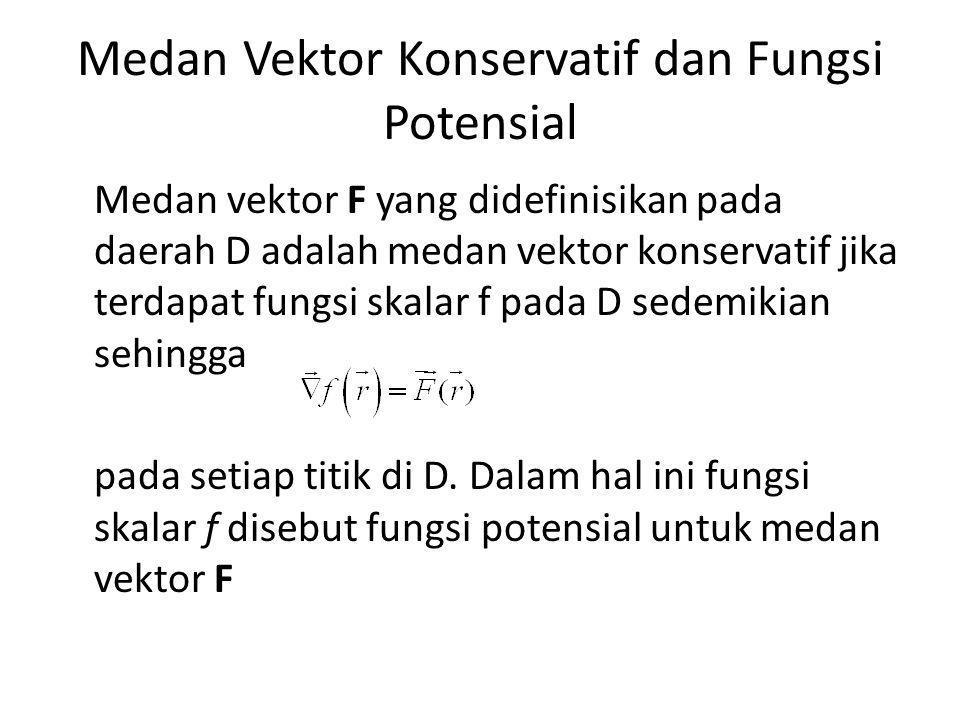 Medan Vektor Konservatif dan Fungsi Potensial Medan vektor F yang didefinisikan pada daerah D adalah medan vektor konservatif jika terdapat fungsi skalar f pada D sedemikian sehingga pada setiap titik di D.