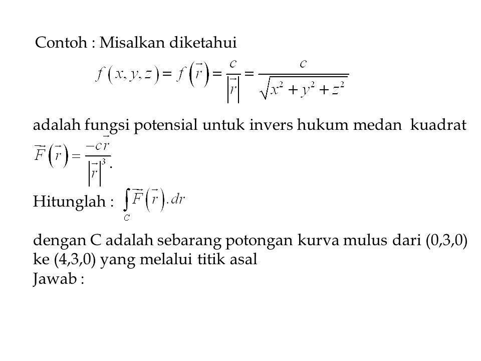 Contoh : Misalkan diketahui adalah fungsi potensial untuk invers hukum medan kuadrat.