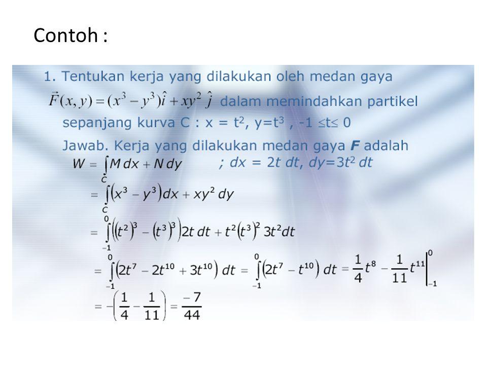 Integral Garis dari Medan Vektor Diketahui medan vektor dan kurva mulus tiga dimensi yang diberikan oleh