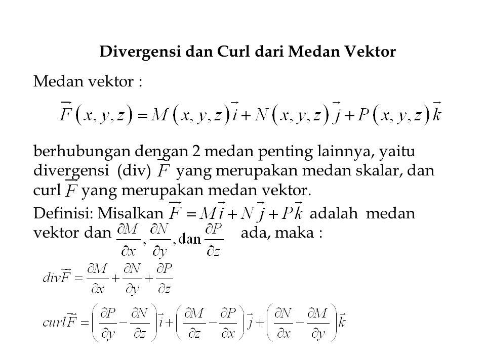Divergensi dan Curl dari Medan Vektor Medan vektor : berhubungan dengan 2 medan penting lainnya, yaitu divergensi (div) yang merupakan medan skalar, d