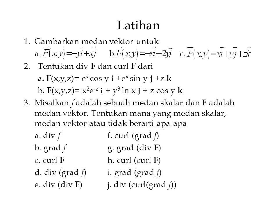 Latihan 1.Gambarkan medan vektor untuk a. b. c. 2.Tentukan div F dan curl F dari a. F (x,y,z)= e x cos y i +e x sin y j +z k b. F (x,y,z)= x 2 e -z i