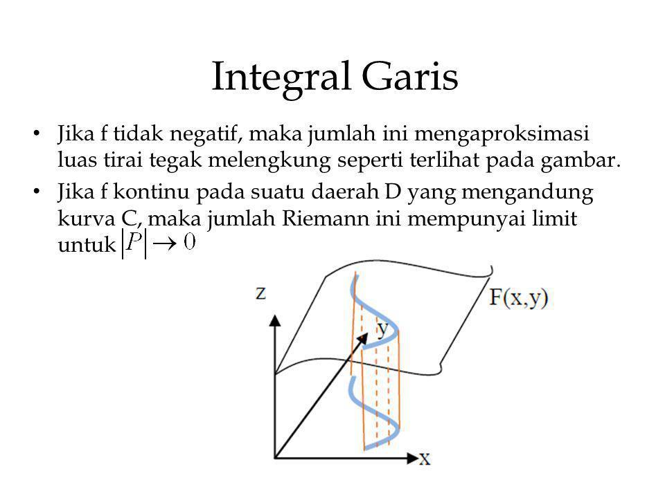 Integral Garis Jika f tidak negatif, maka jumlah ini mengaproksimasi luas tirai tegak melengkung seperti terlihat pada gambar. Jika f kontinu pada sua