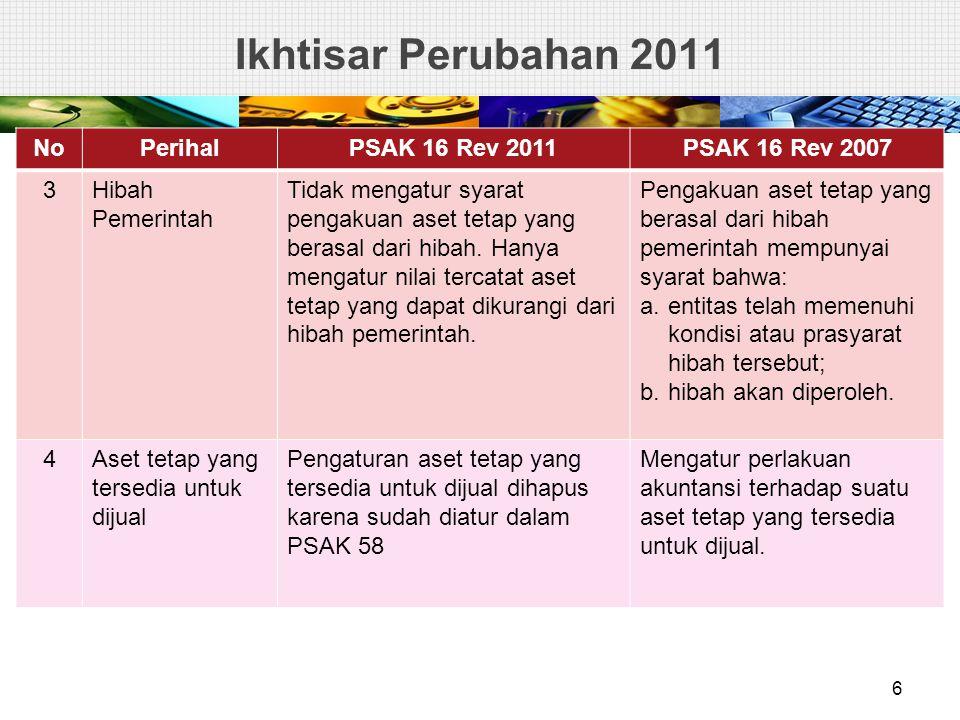 Ikhtisar Perubahan 2011 NoPerihalPSAK 16 Rev 2011PSAK 16 Rev 2007 3Hibah Pemerintah Tidak mengatur syarat pengakuan aset tetap yang berasal dari hibah