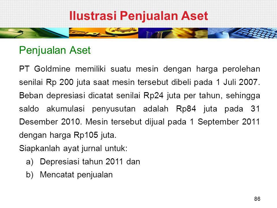 Penjualan Aset PT Goldmine memiliki suatu mesin dengan harga perolehan senilai Rp 200 juta saat mesin tersebut dibeli pada 1 Juli 2007. Beban depresia