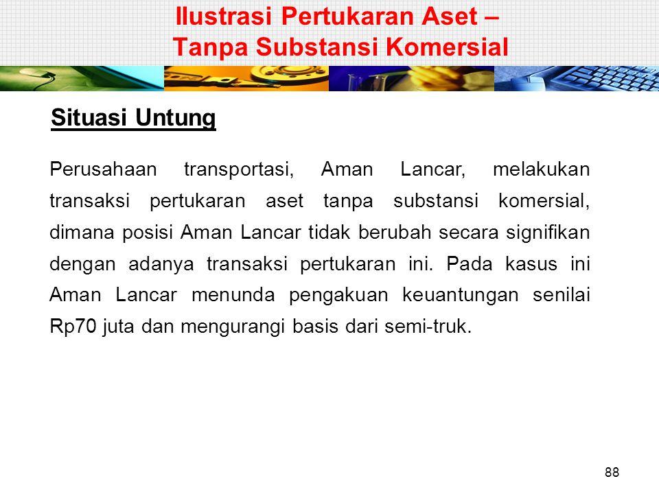 Situasi Untung Perusahaan transportasi, Aman Lancar, melakukan transaksi pertukaran aset tanpa substansi komersial, dimana posisi Aman Lancar tidak be