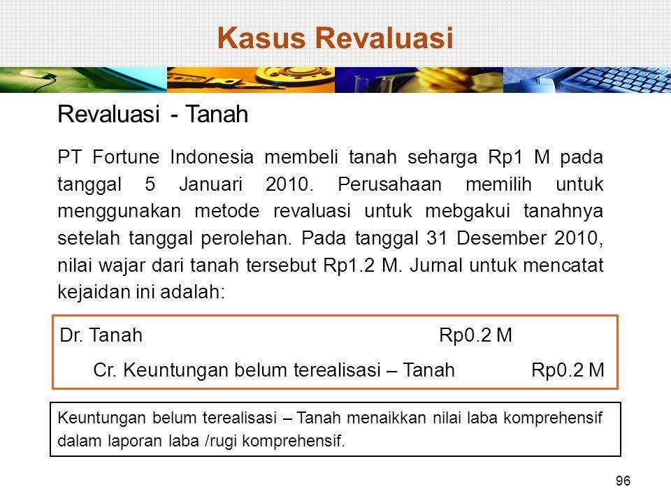 Revaluasi - Tanah PT Fortune Indonesia membeli tanah seharga Rp1 M pada tanggal 5 Januari 2010. Perusahaan memilih untuk menggunakan metode revaluasi