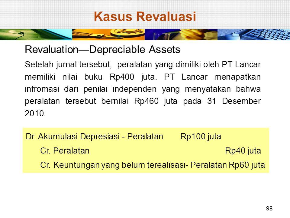 Revaluation—Depreciable Assets Setelah jurnal tersebut, peralatan yang dimiliki oleh PT Lancar memiliki nilai buku Rp400 juta. PT Lancar menapatkan in