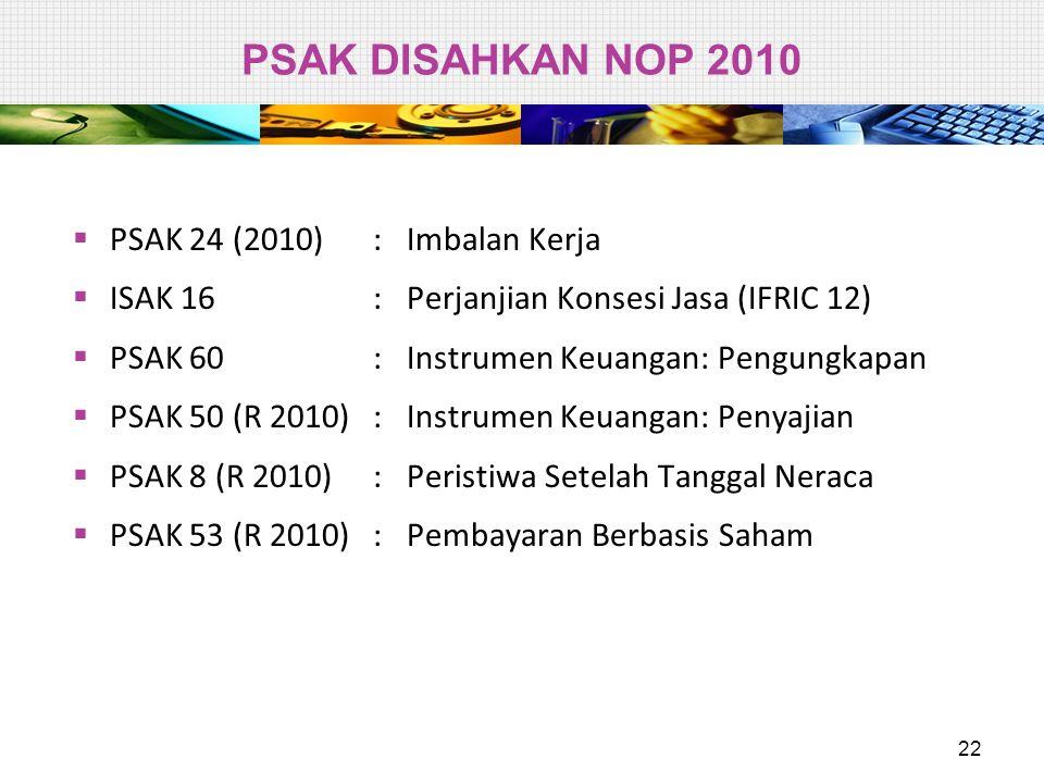 PSAK DISAHKAN NOP 2010  PSAK 24 (2010):Imbalan Kerja  ISAK 16 : Perjanjian Konsesi Jasa (IFRIC 12)  PSAK 60 : Instrumen Keuangan: Pengungkapan  PS