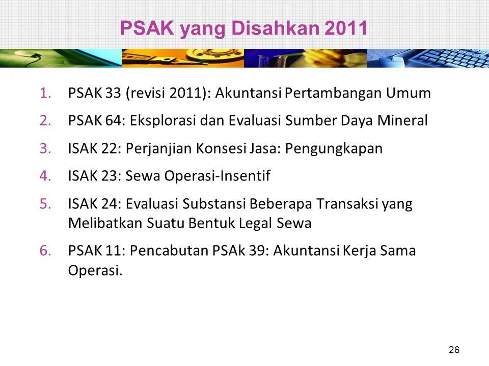 PSAK yang Disahkan 2011 1.PSAK 33 (revisi 2011): Akuntansi Pertambangan Umum 2.PSAK 64: Eksplorasi dan Evaluasi Sumber Daya Mineral 3.ISAK 22: Perjanj