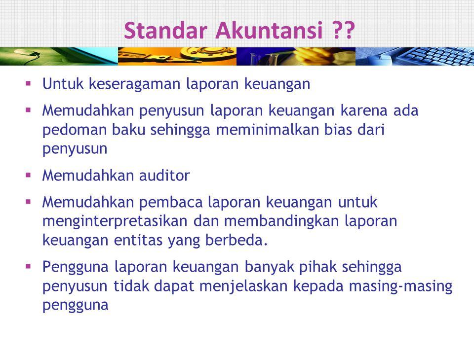 Empat Pilar Standar Akuntansi Indonesia  Standar Akuntansi Keuangan  SAK-ETAP  Standar Akuntansi Syari'ah  Standar Akuntansi Pemerintahan  IFRS hanya diadopsi untuk Standar Akuntansi Keuangan (PSAK)  SAK ETAP diluncurkan secara resmi pada tanggal 17 July 2009  Instansi Pemerintah menggunakan Standar Akuntansi Pemerintahan PP 71 tahun 2010 7