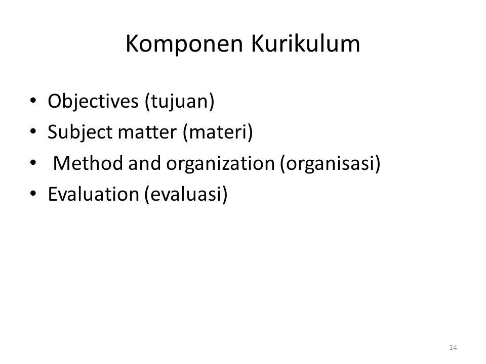 Komponen Kurikulum Objectives (tujuan) Subject matter (materi) Method and organization (organisasi) Evaluation (evaluasi) 14