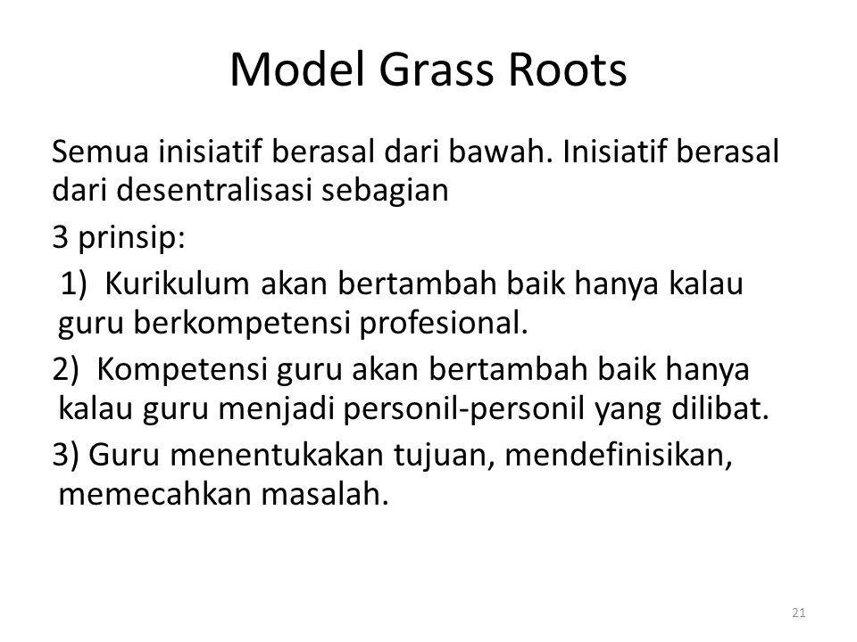 Model Grass Roots Semua inisiatif berasal dari bawah. Inisiatif berasal dari desentralisasi sebagian 3 prinsip: 1) Kurikulum akan bertambah baik hanya
