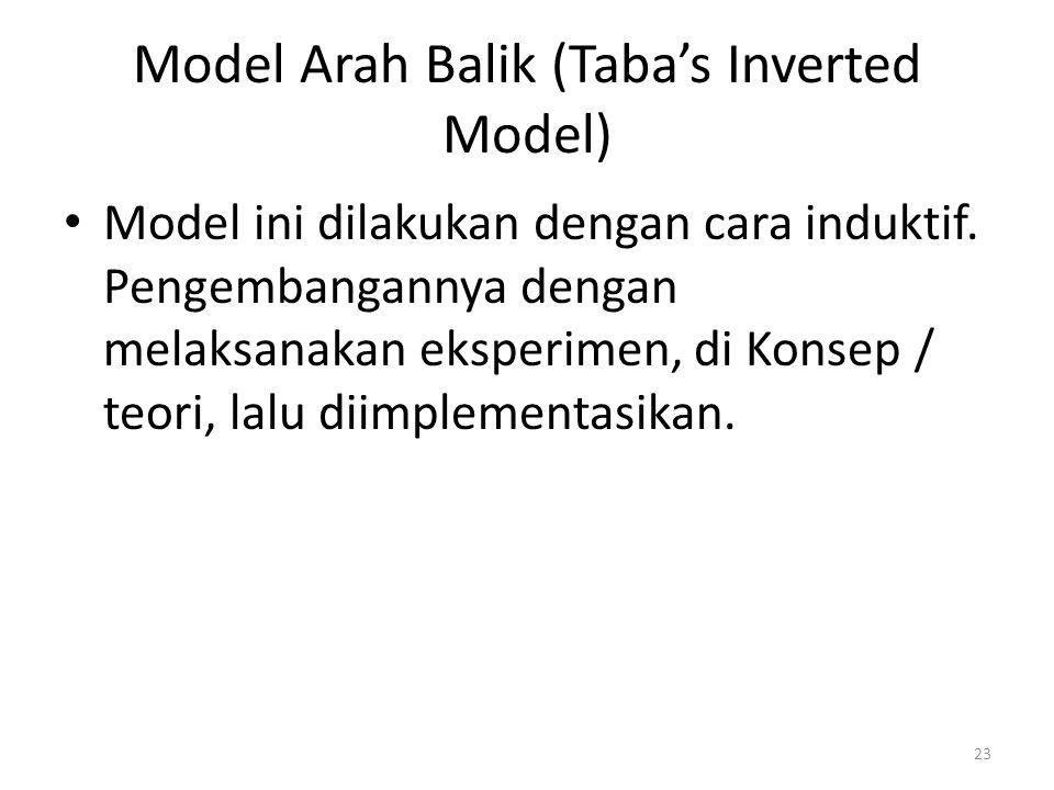 Model Arah Balik (Taba's Inverted Model) Model ini dilakukan dengan cara induktif. Pengembangannya dengan melaksanakan eksperimen, di Konsep / teori,