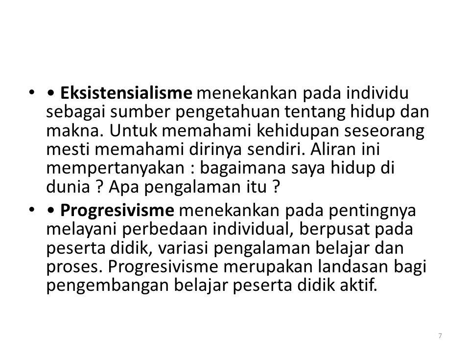 Eksistensialisme menekankan pada individu sebagai sumber pengetahuan tentang hidup dan makna.