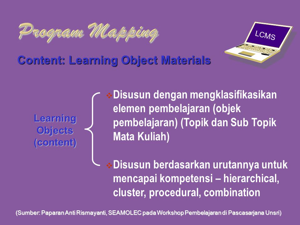 e-Learning Interaction: Learning Design and Path Content: Learning Object Materials Delivery system Program Mapping (Sumber: Paparan Anti Rismayanti,
