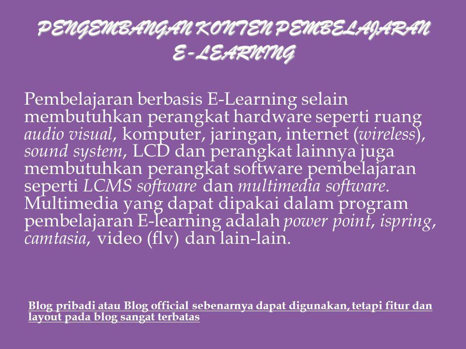 Pengembangan Konten & Evaluasi Pembelajaran E- Learning Pelatihan Bahan Ajar Berbasis E-Learning Pusbangdik Universitas Sriwijaya Inderalaya, 3 Juni 2