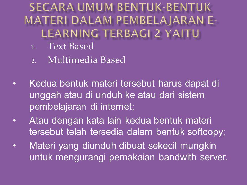 Untuk melengkapi sarana/media pembelajaran E-Learning termasuk materi atau konten pembelajaran maka diperlukan suatu metode dan media pembelajaran yan