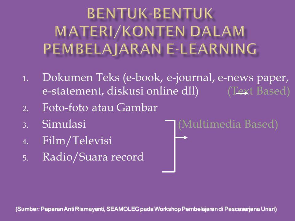 1. Text Based 2. Multimedia Based Kedua bentuk materi tersebut harus dapat di unggah atau di unduh ke atau dari sistem pembelajaran di internet; Atau