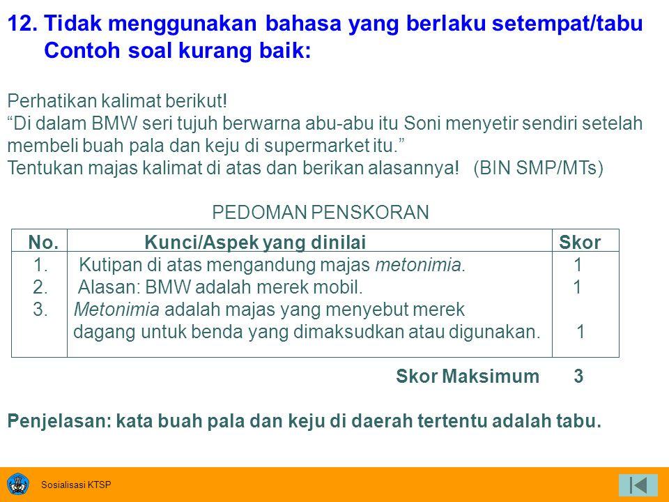Sosialisasi KTSP 10. Butir soal menggunakan bahasa Indonesia yang baku Contoh soal kurang baik Coba kamu sebutkan satu per satu karakteristik sikap pa