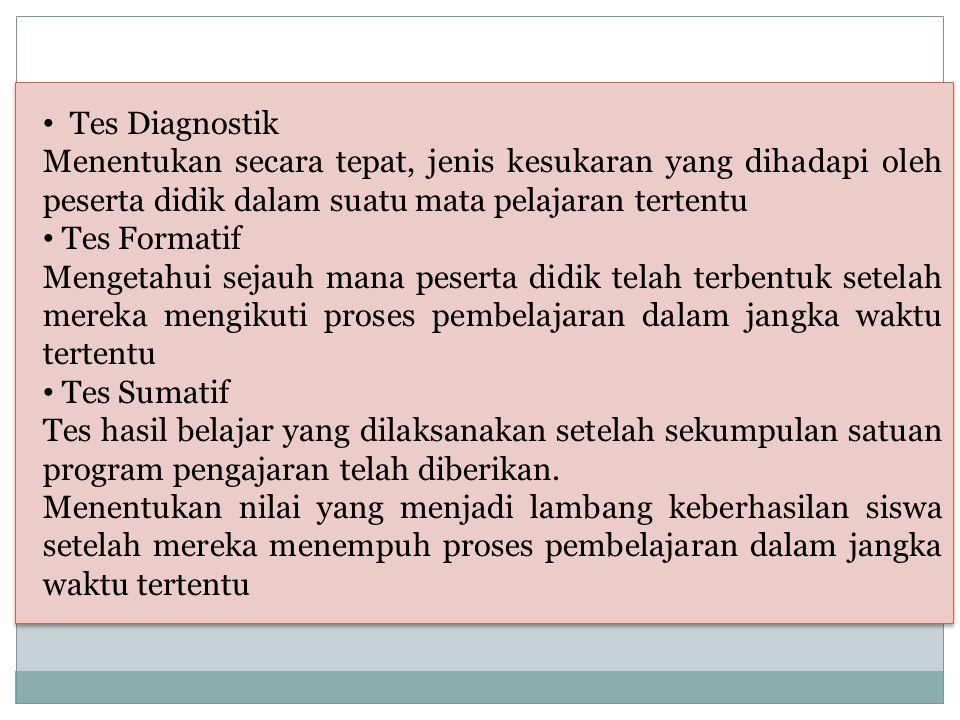 Tes Diagnostik Menentukan secara tepat, jenis kesukaran yang dihadapi oleh peserta didik dalam suatu mata pelajaran tertentu Tes Formatif Mengetahui s
