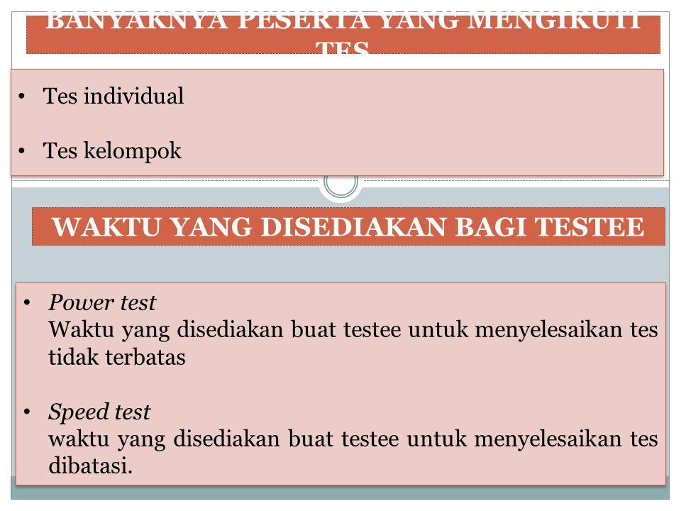 BANYAKNYA PESERTA YANG MENGIKUTI TES Tes individual Tes kelompok Tes individual Tes kelompok WAKTU YANG DISEDIAKAN BAGI TESTEE Power test Waktu yang d