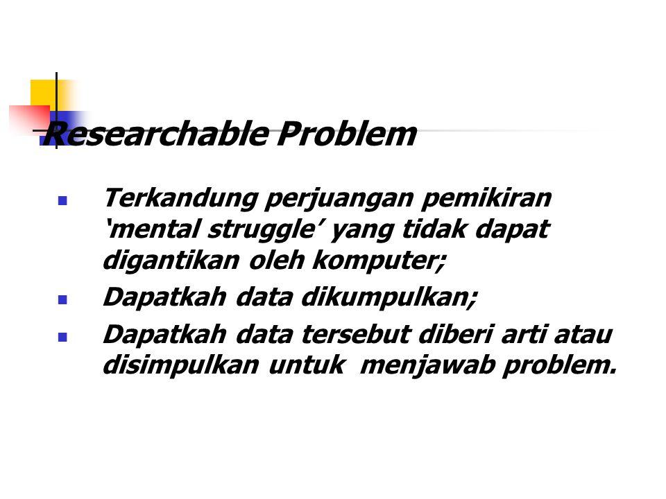 Researchable Problem Terkandung perjuangan pemikiran 'mental struggle' yang tidak dapat digantikan oleh komputer; Dapatkah data dikumpulkan; Dapatkah