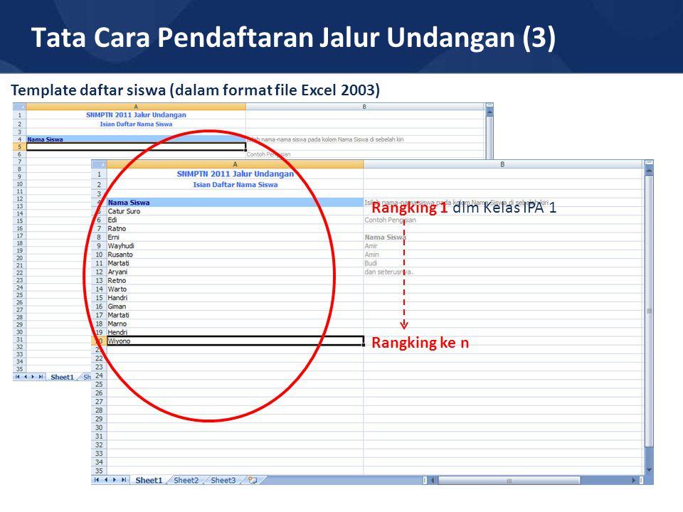 Tata Cara Pendaftaran Jalur Undangan (3) Template daftar siswa (dalam format file Excel 2003) Rangking 1 dlm Kelas IPA 1 Rangking ke n