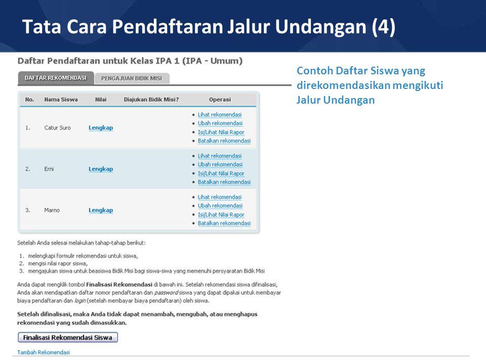 Tata Cara Pendaftaran Jalur Undangan (4) Contoh Daftar Siswa yang direkomendasikan mengikuti Jalur Undangan