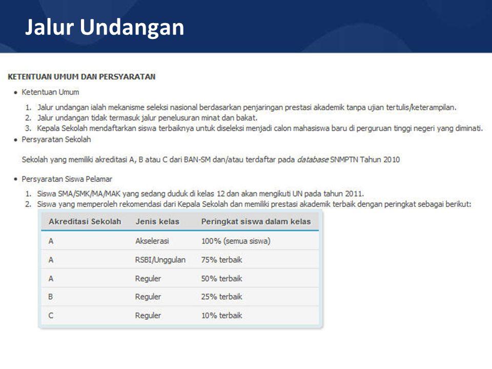 Info Tambahan Siswa Pelamar yang telah didaftarkan oleh Kepala Sekolah membayar uang pendaftaran ke Bank Mandiri dengan menunjukkan Nomor Pendaftaran (1 Feb – 12 Maret 2011) Biaya pendaftaran SNMPTN Jalur Undangan Tahun 2011 sebesar Rp.