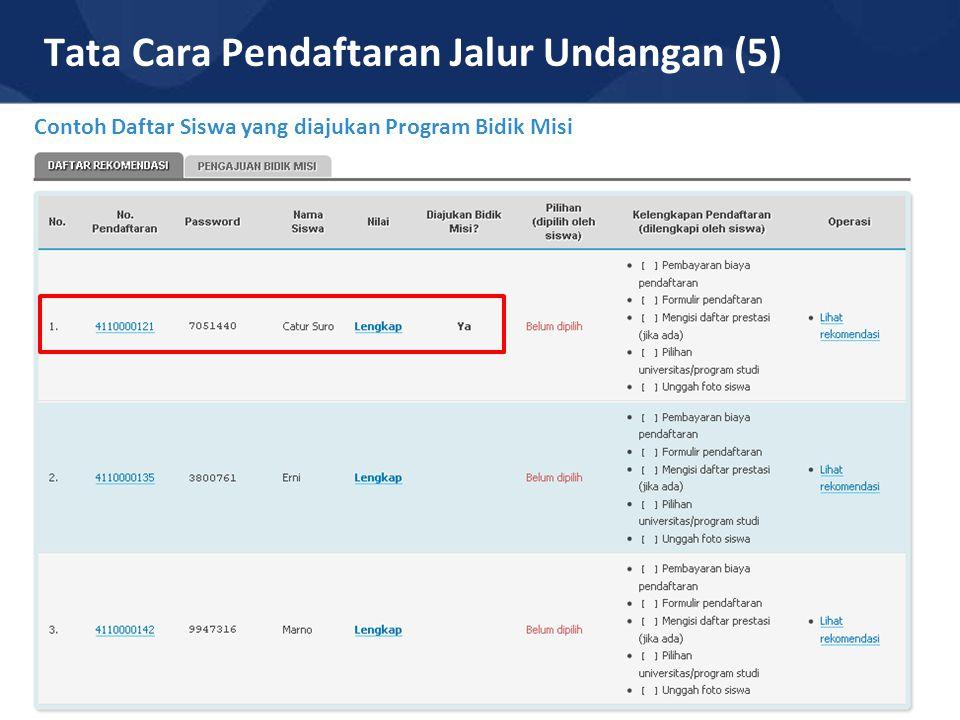 Tata Cara Pendaftaran Jalur Undangan (5) Contoh Daftar Siswa yang diajukan Program Bidik Misi