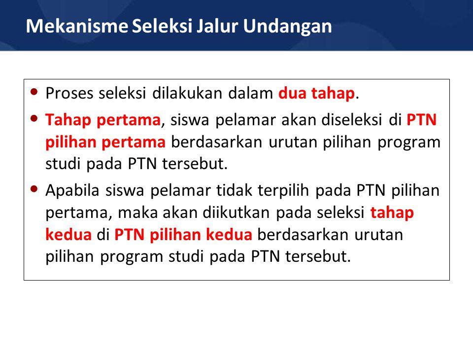 Mekanisme Seleksi Jalur Undangan Proses seleksi dilakukan dalam dua tahap.