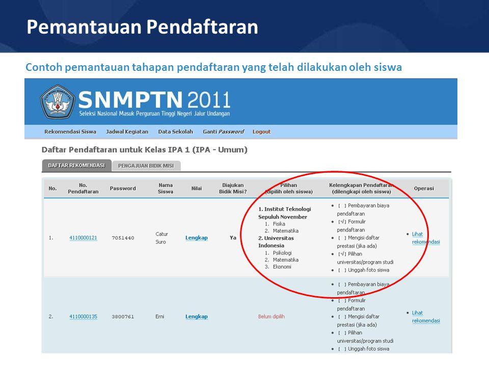 Pemantauan Pendaftaran Contoh pemantauan tahapan pendaftaran yang telah dilakukan oleh siswa