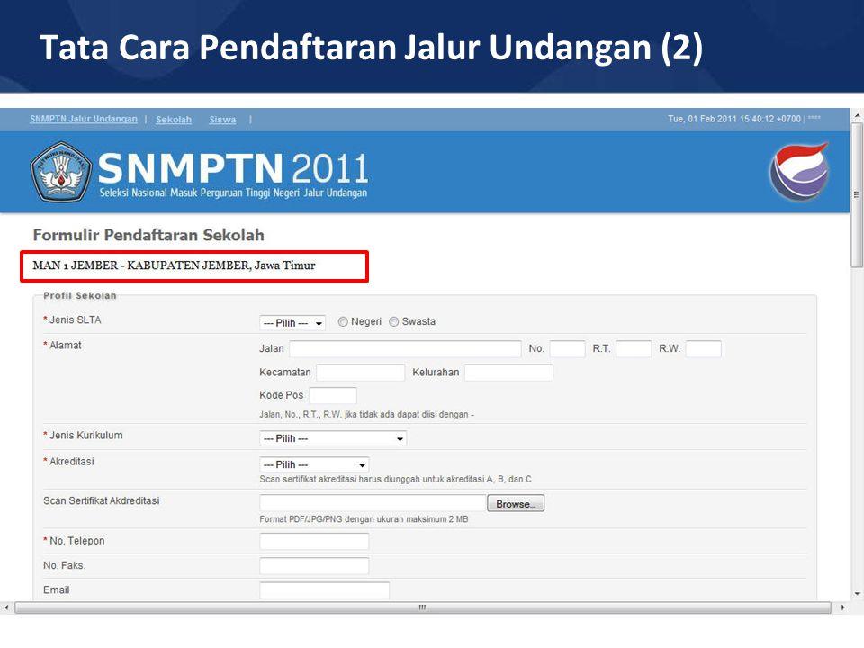 Tata Cara Pendaftaran Jalur Undangan (5) Kepala Sekolah mengajukan program Bidik Misi yang dipilih dari data siswa yang telah diajukan untuk mengikuti SNMPTN Jalur Undangan