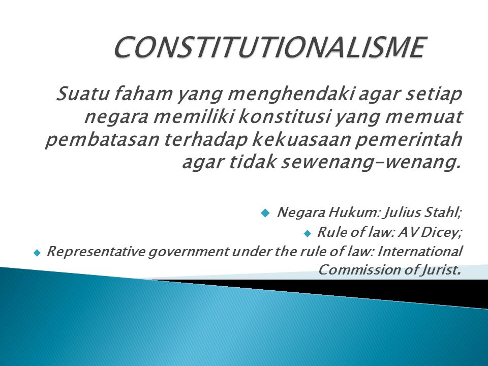 Suatu faham yang menghendaki agar setiap negara memiliki konstitusi yang memuat pembatasan terhadap kekuasaan pemerintah agar tidak sewenang-wenang.