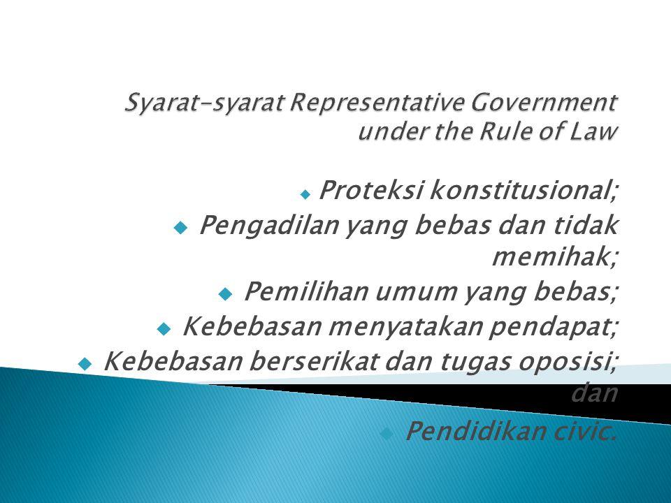  Proteksi konstitusional;  Pengadilan yang bebas dan tidak memihak;  Pemilihan umum yang bebas;  Kebebasan menyatakan pendapat;  Kebebasan berserikat dan tugas oposisi; dan  Pendidikan civic.