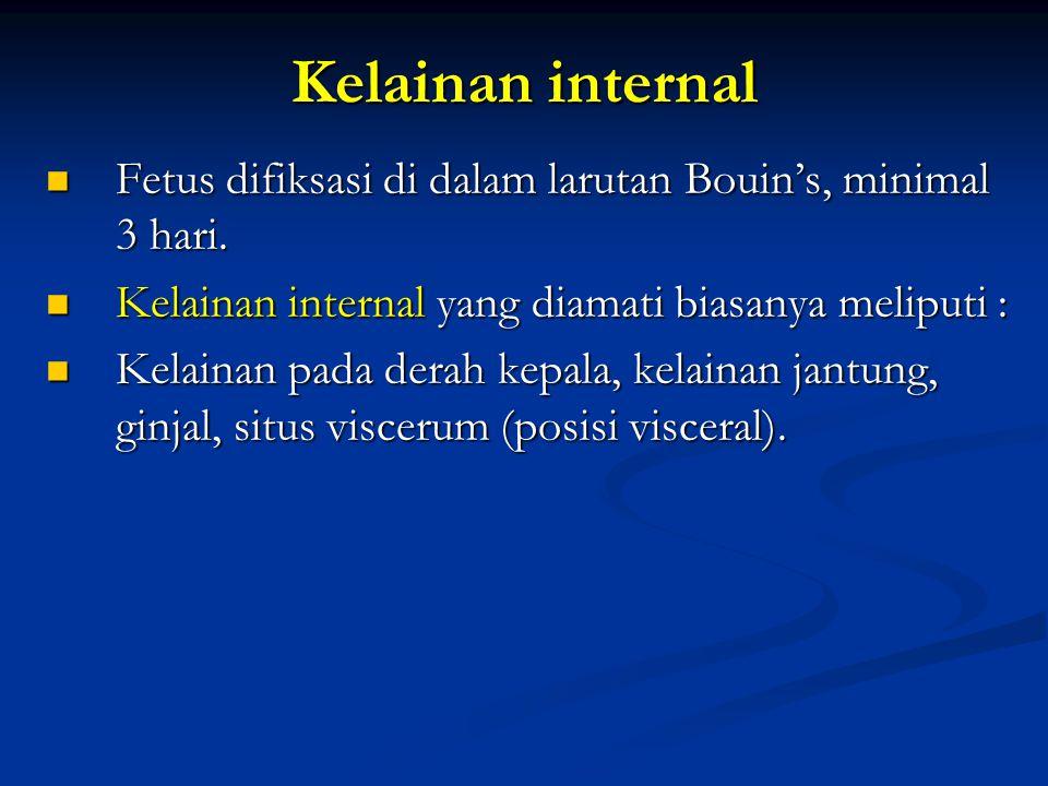 Kelainan internal Fetus difiksasi di dalam larutan Bouin's, minimal 3 hari. Fetus difiksasi di dalam larutan Bouin's, minimal 3 hari. Kelainan interna