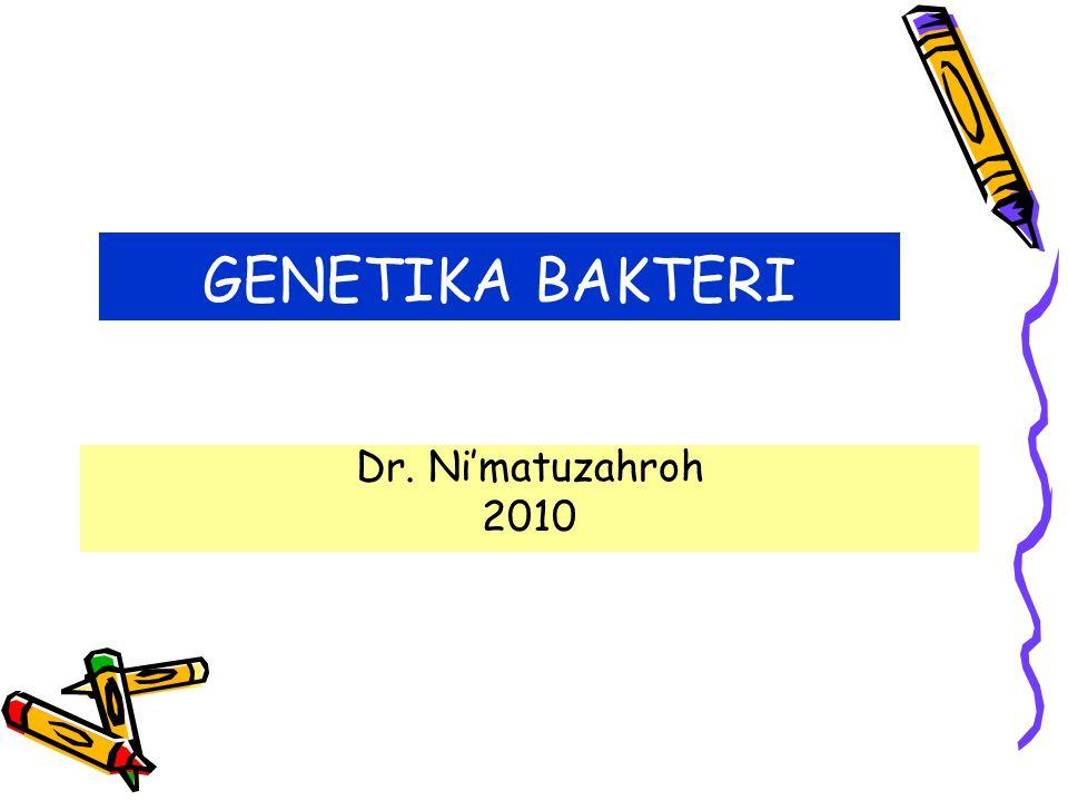 GENETIKA BAKTERI Dr. Ni'matuzahroh 2010