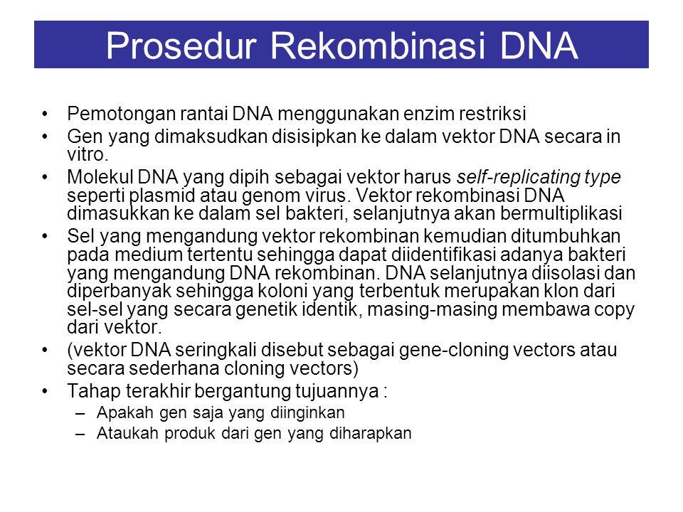 Suatu gen dari hewan vertebrata termasuk manusia dapat disisipkan ke dalam DNA bakteri Gen dari virus ke dalam sel ragi Pada umumnya resipien dapat me